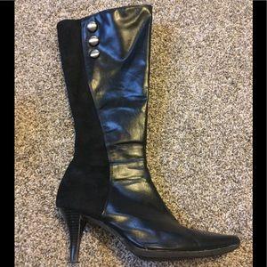 Black knee high heeled boots with zipper